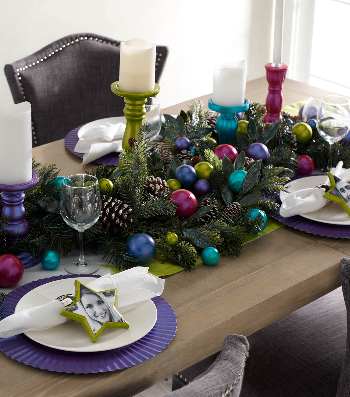 jewel tone holiday table setting