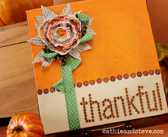 Thankful Art Canvas And Rustic Paper Flowers Cathie
