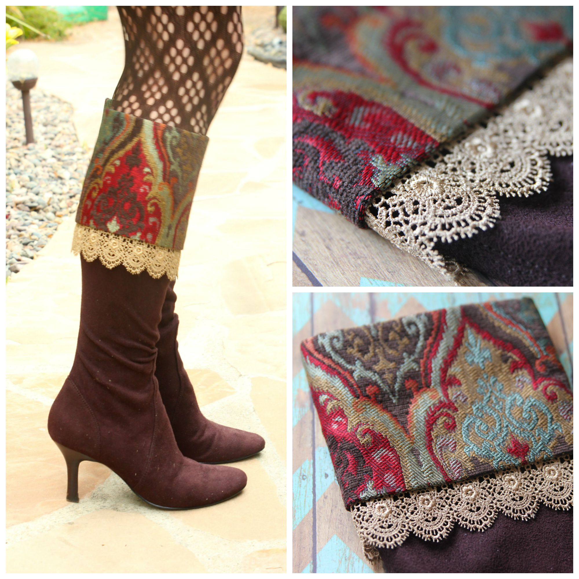 faux boot cuffs with mod podge