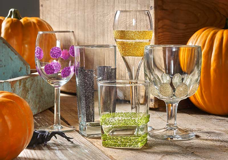 glittered halloween glasses