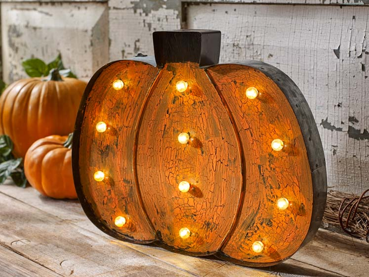 pumpkin marquee light crackle finish