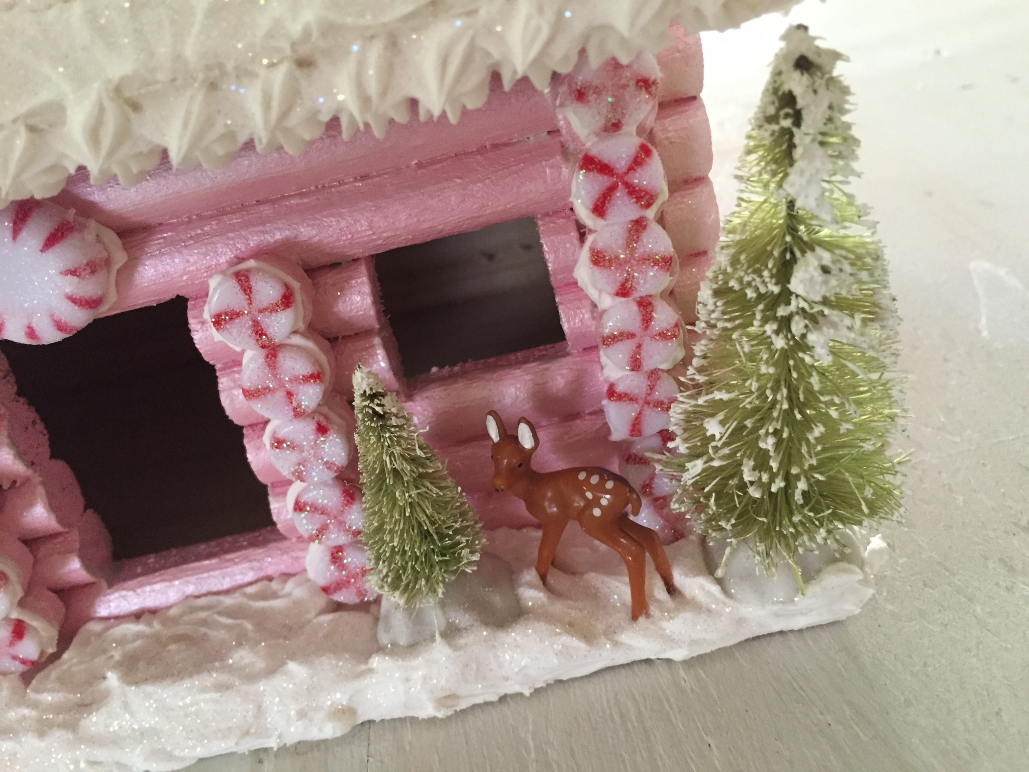 candy log cabin close up