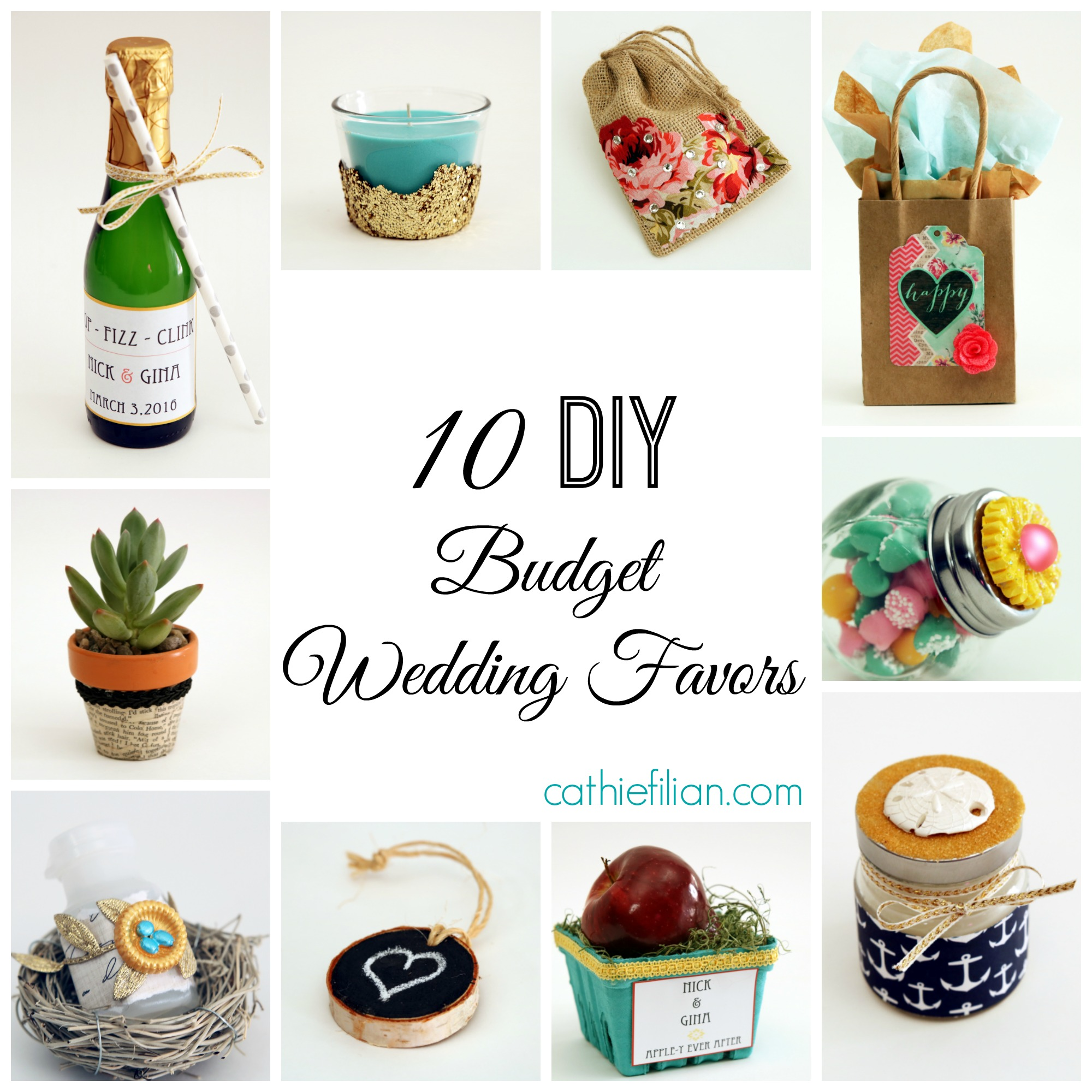 10 diy budget wedding favor ideas cathie filian steve for Wedding supplies