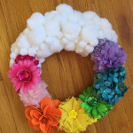 Rainbow and Pom Pom Cloud Wreath