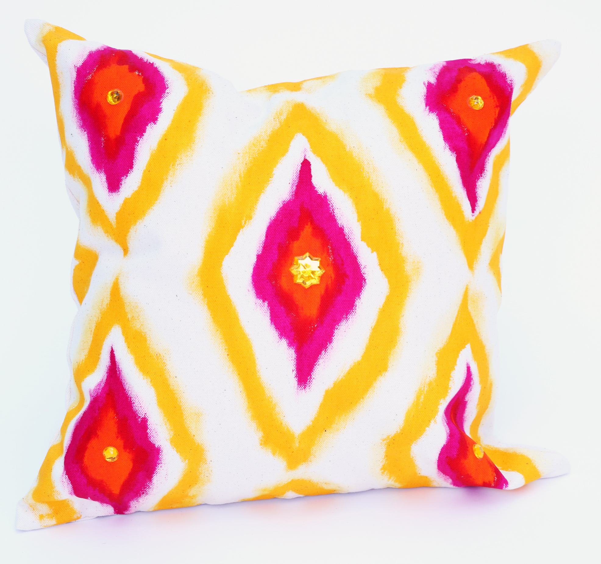 ikat pillow hand painted
