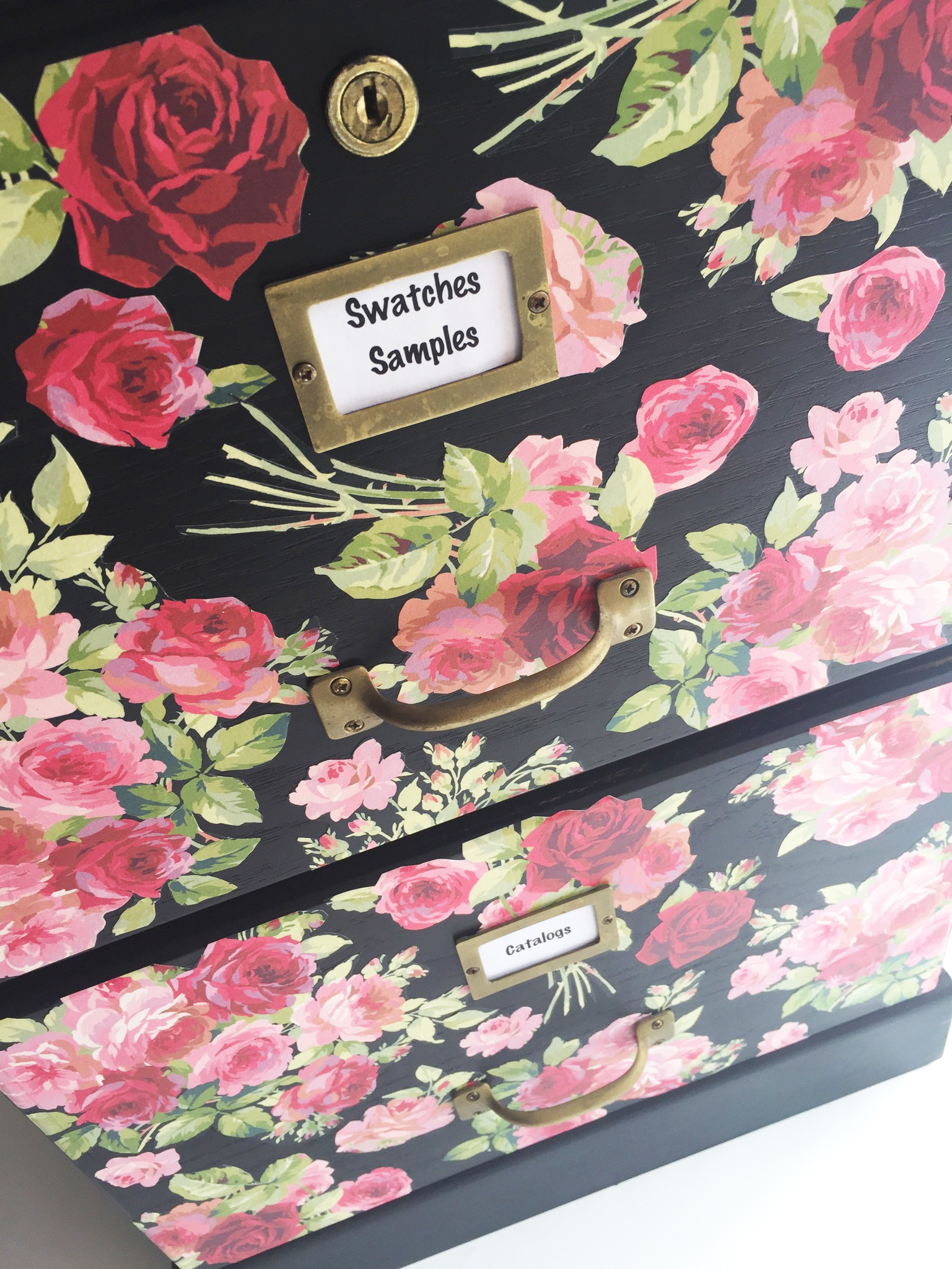 File cabinet makeover with chalk paint and mod podge
