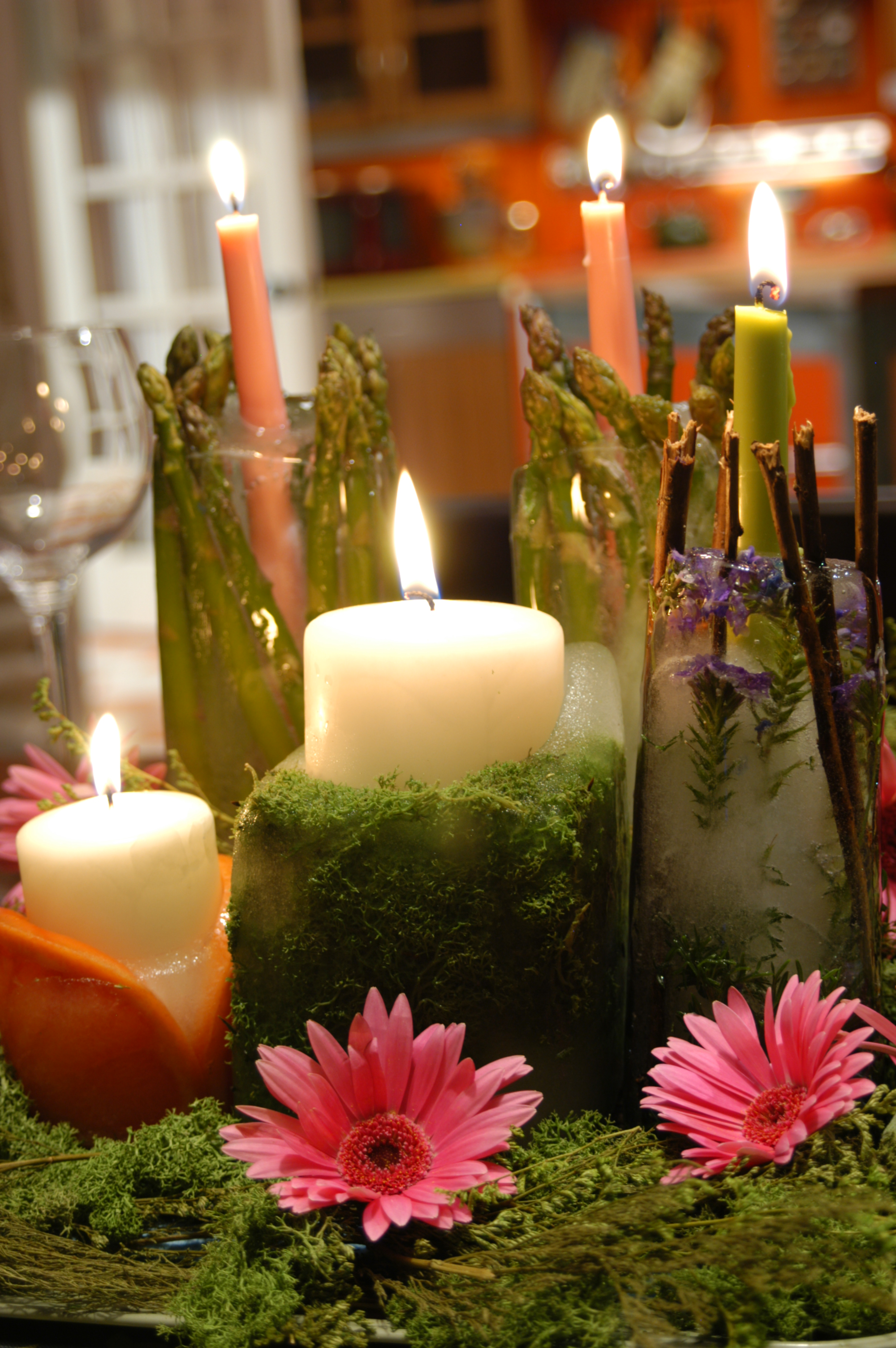 Make a frozen candle and moss centerpiece cathie filian