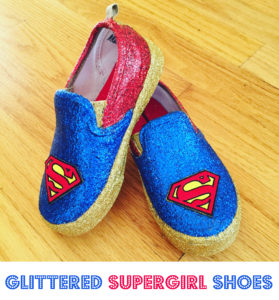 How To Make Superman or Supergirl Glitter Shoes