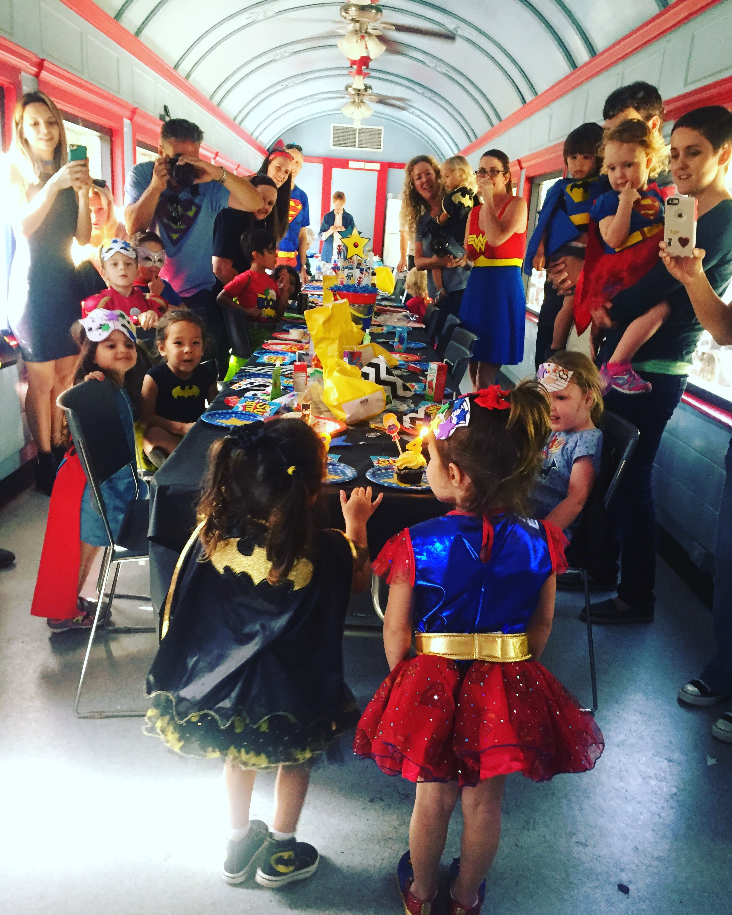 Superhero Party On An Antique Train At Travel Town In Griffith Park LA