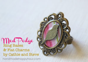 DIY Rose and Bird Ring with Mod Podge Ring Blanks